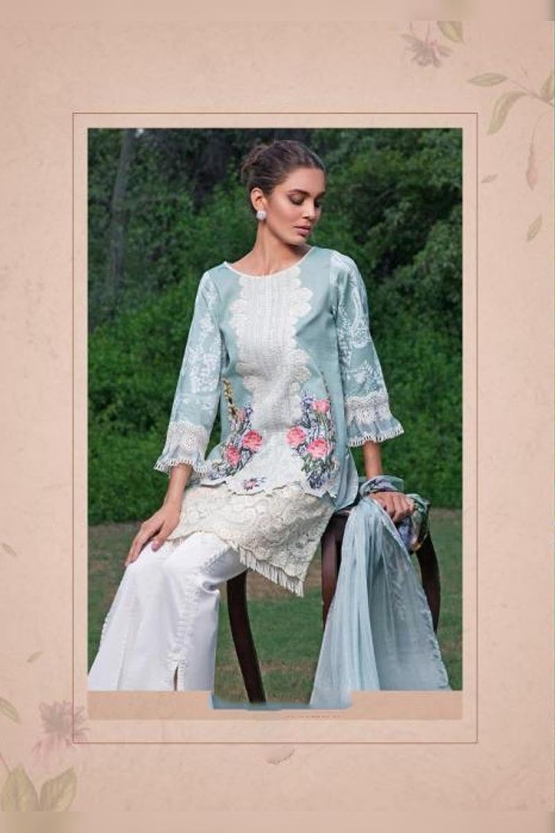 Grey & White Deepsy Gold Printed Jam Cotton With Self Embroidery Work Salwar Kameez