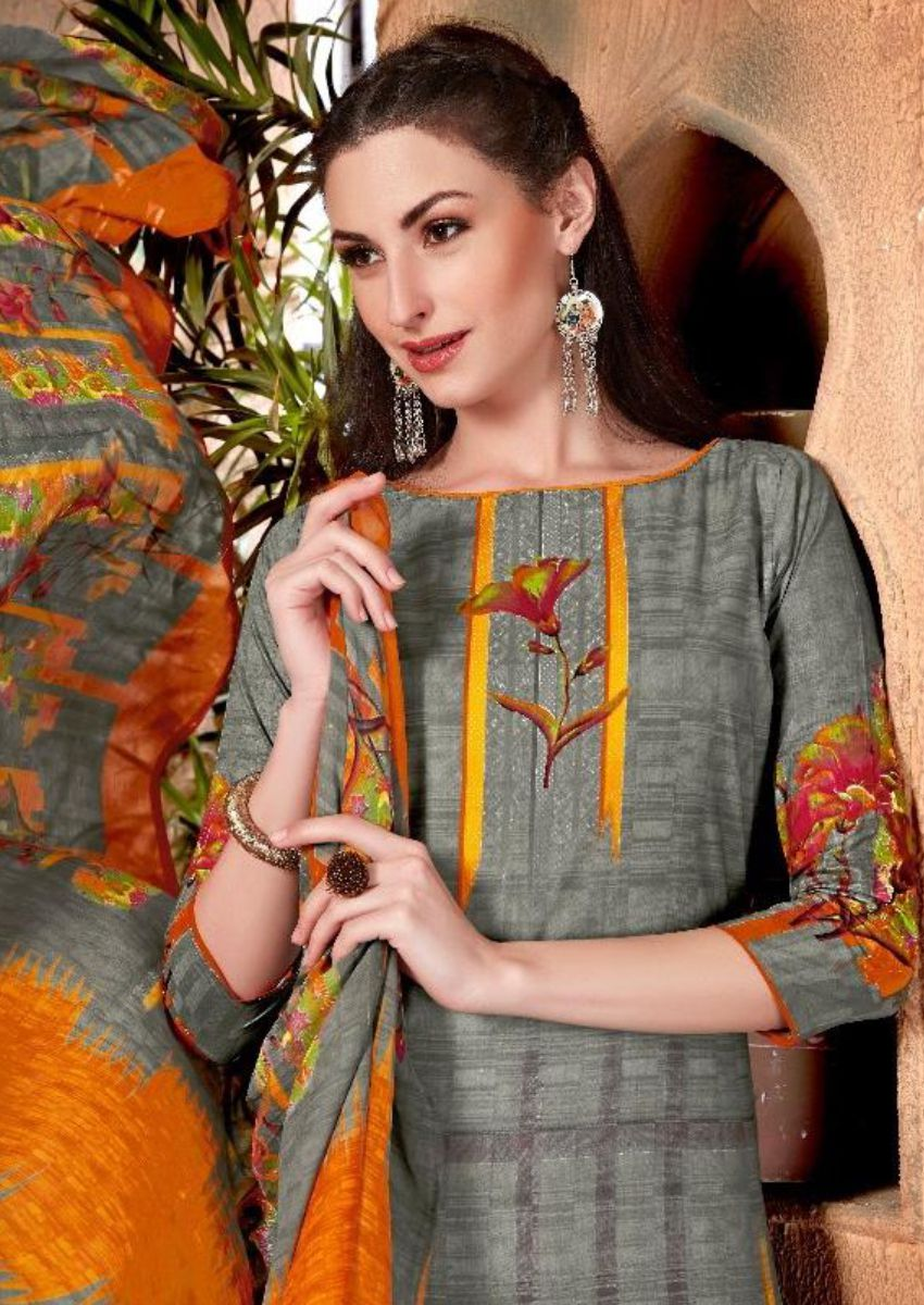 Stone Grey Printed Salwar Kamiz Set