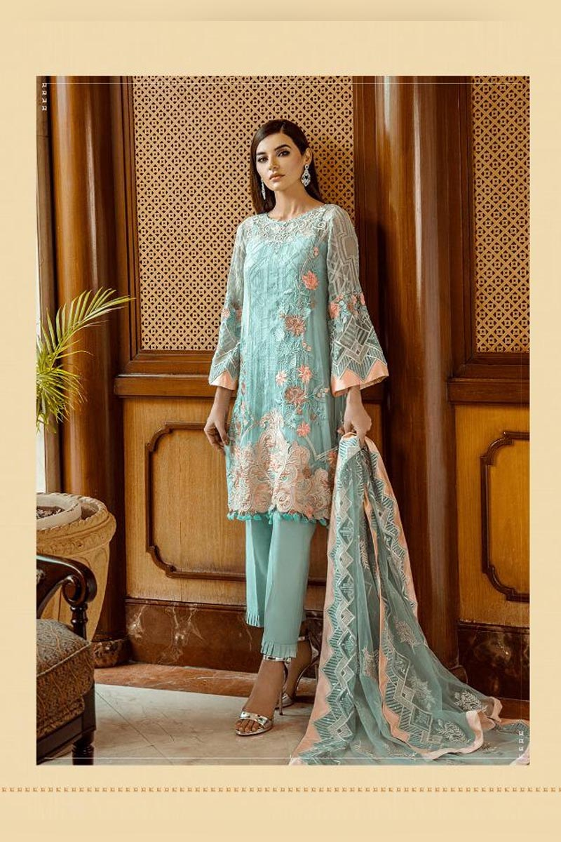 Sky Blue & Peach Colour Georgette Heavy Embroidered Salwar Kameez