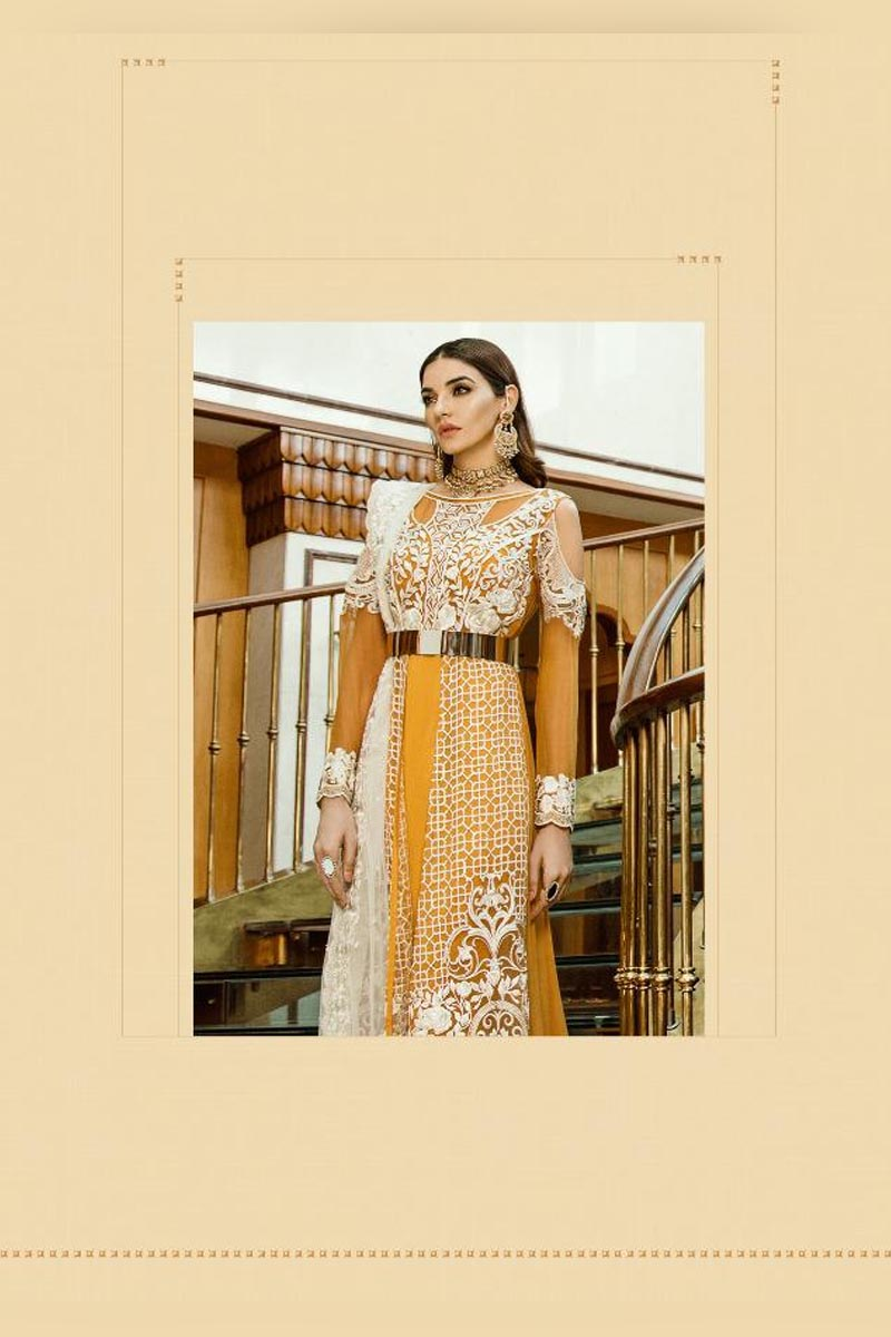 Mustard & White Colour Georgette Heavy Embroidered Salwar Kameez