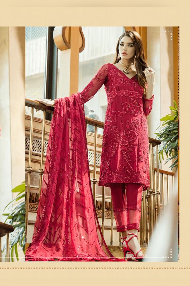 Red Colour Georgette Heavy Embroidered Salwar Kameez