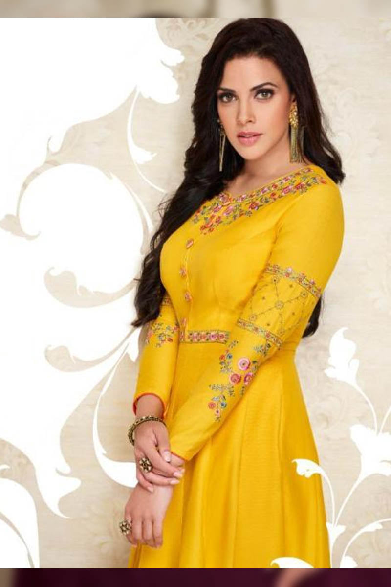 Designer Maslin Silk With Embroidery Gown Type Kurti in Yellow Color