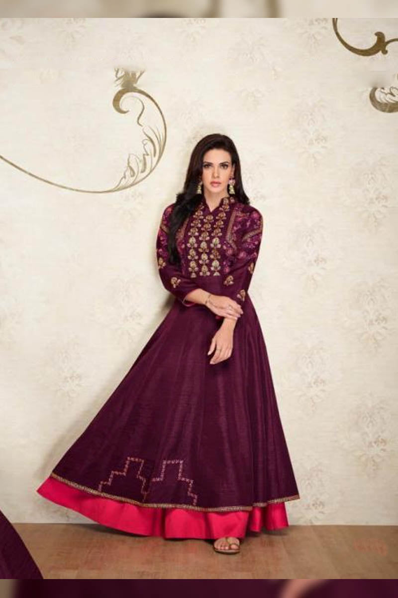 Designer Maslin Silk With Embroidery Gown Type Kurti in Purple Color