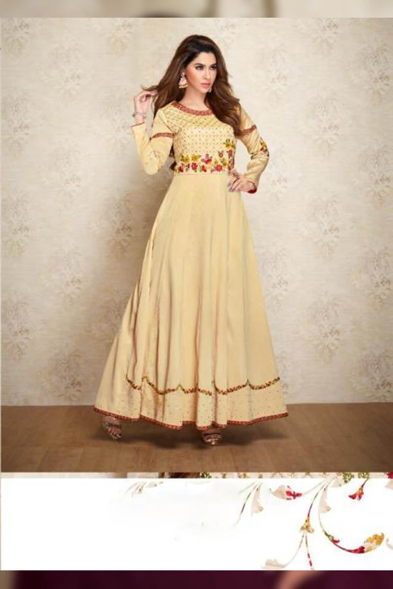 Designer Maslin Silk With Embroidery Gown Type Kurti in Cream Color