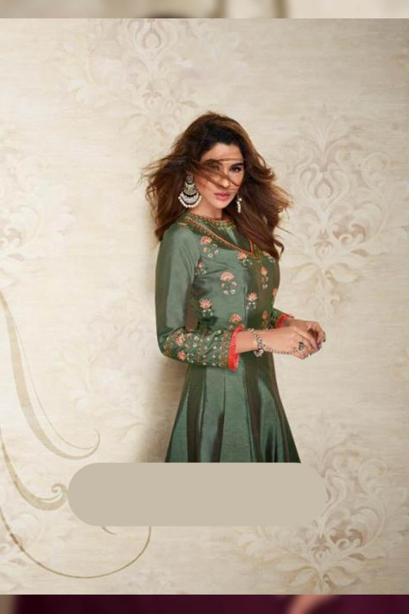 Designer Maslin Silk With Embroidery Gown Type Kurti in Green Color