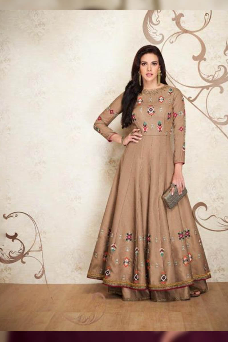 Designer Maslin Silk With Embroidery Gown Type Kurti in Brown Color