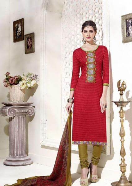 Red Embroidered Salwar Kamiz Set