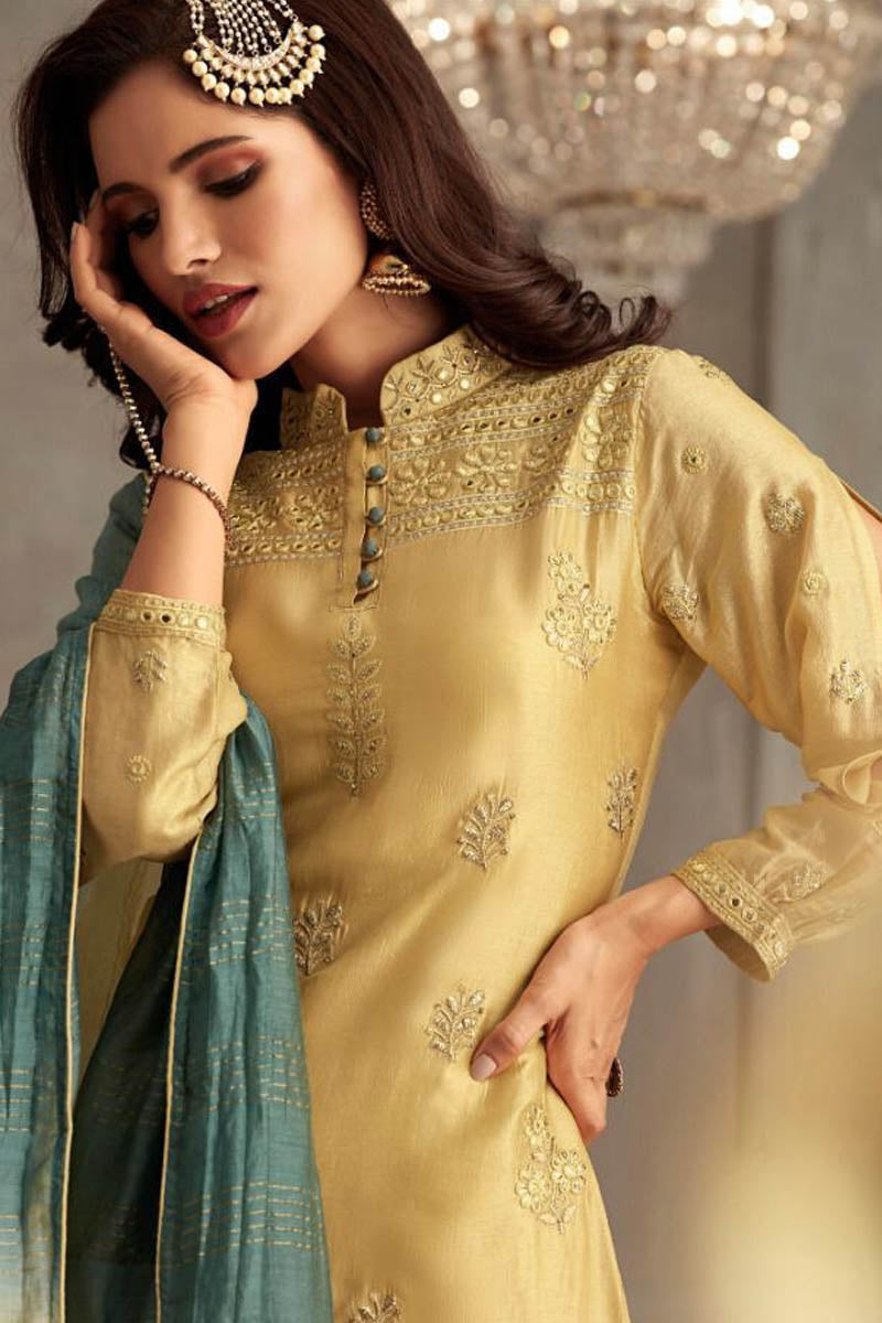 Lemon Yellow Georgette Banarasi Silk Anarkali Suit