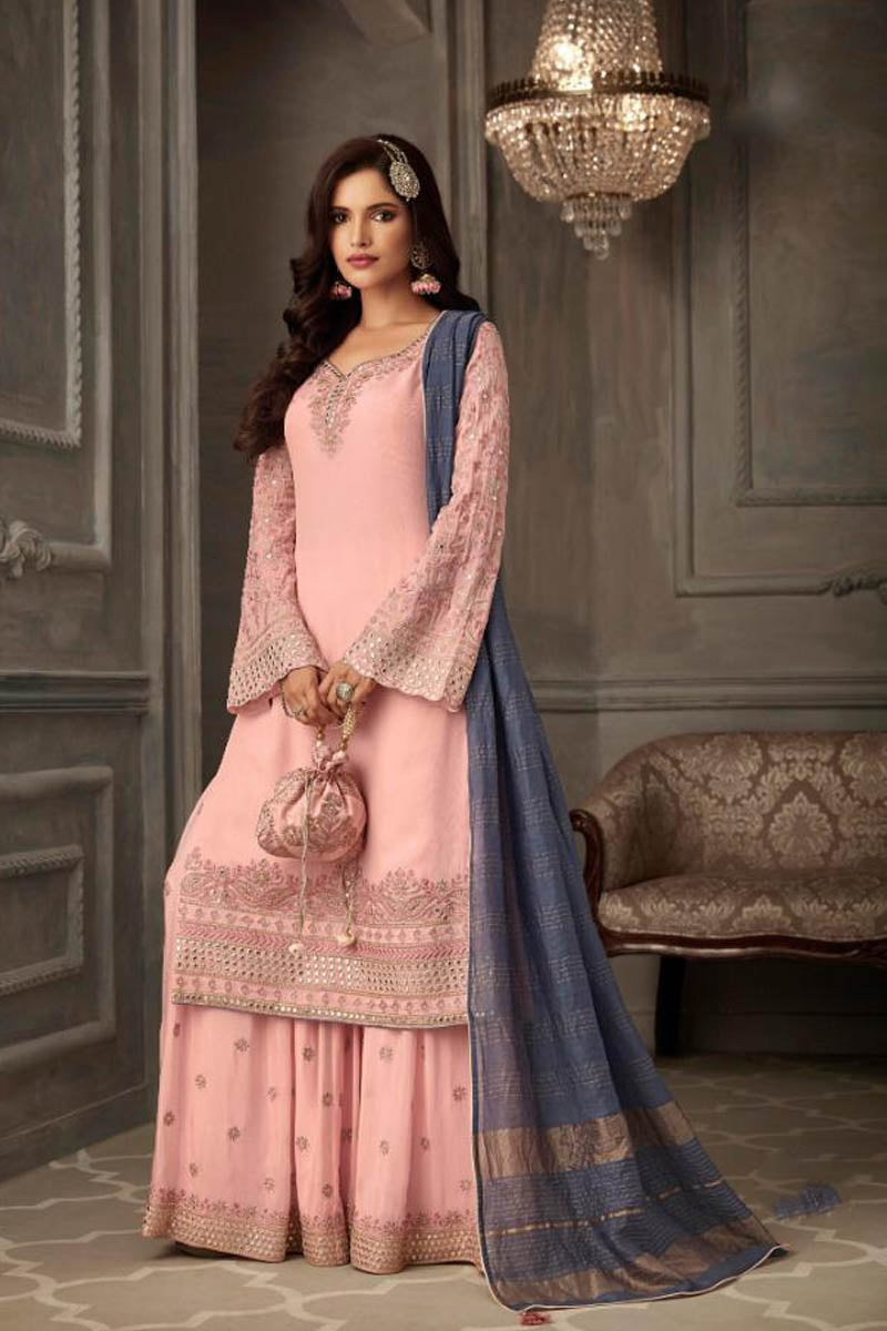 Lovely Georgette Banarasi Silk Anarkali Suit in Baby Pink Color
