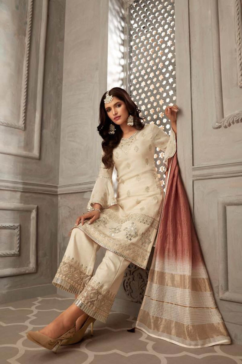 Lovely Georgette Banarasi Silk Anarkali Suit in Off White Color
