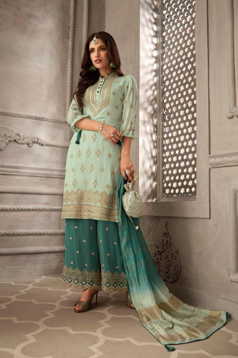 Lovely Georgette Banarasi Silk Anarkali Suit In Aqua Blue Color