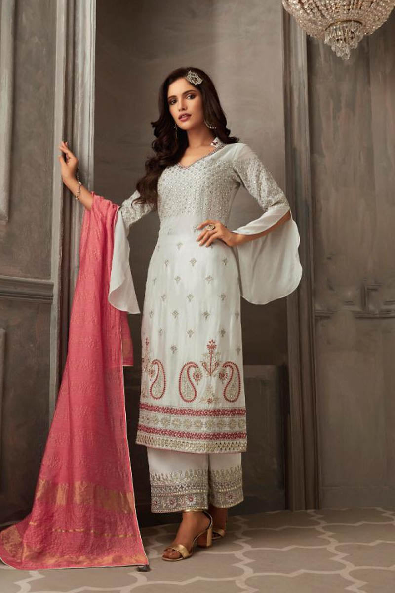 Lovely Georgette Banarasi Silk Anarkali Suit In White Grey Color