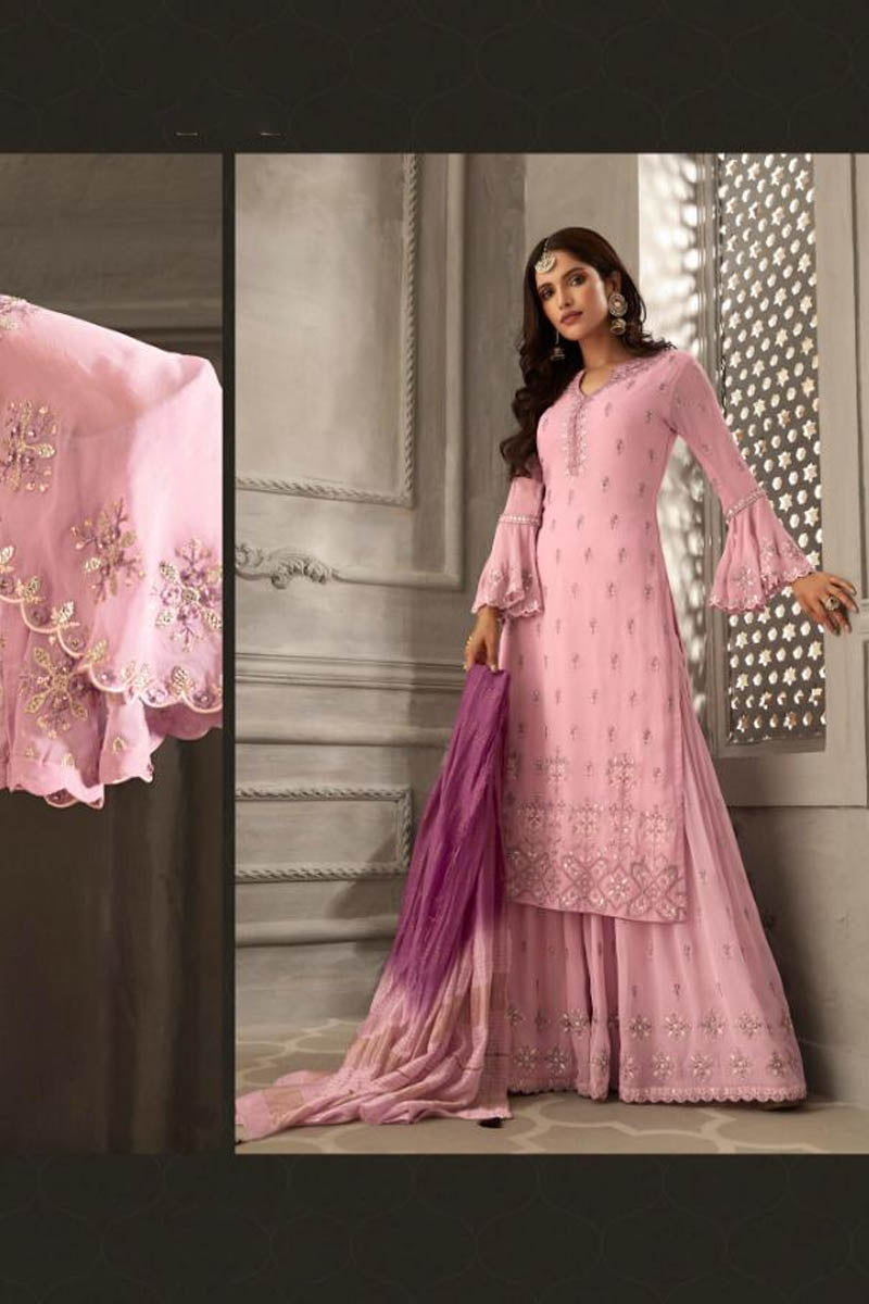 Lovely Georgette Banarasi Silk Anarkali Suit In Pink Color