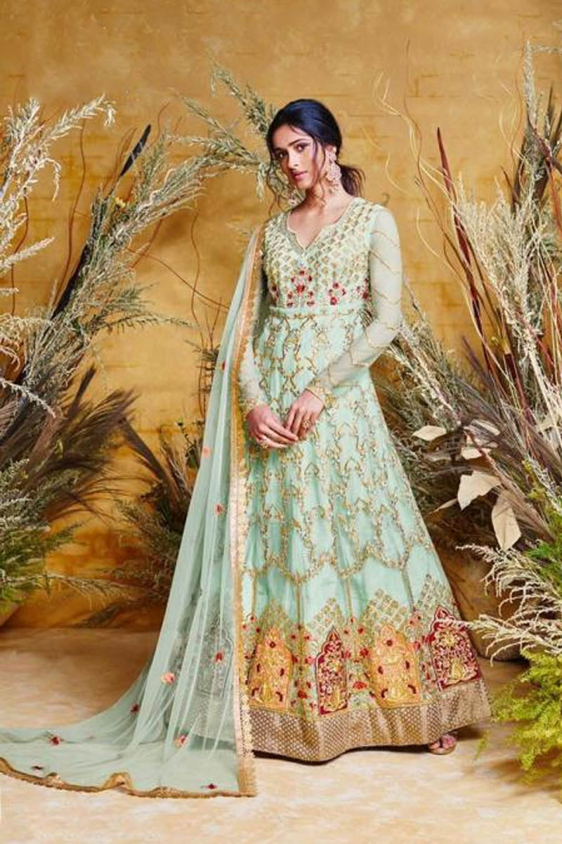 Amazing Aqua Blue Embroidered Wedding Anarkali Suit