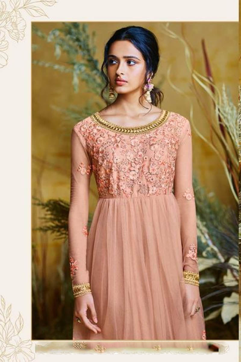 Amazing Peach Color Embroidered Wedding Anarkali Suit