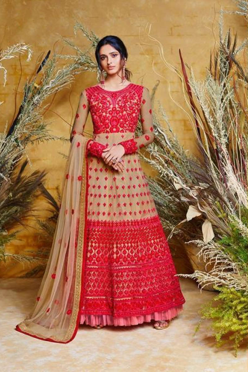 Amazing Red Color Embroidered Wedding Anarkali Suit