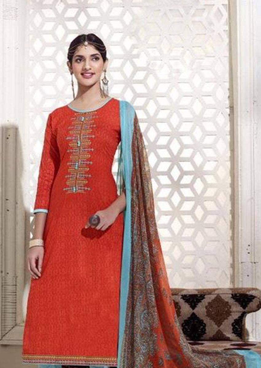 Terracotta Embroidered Salwar Kamiz Set