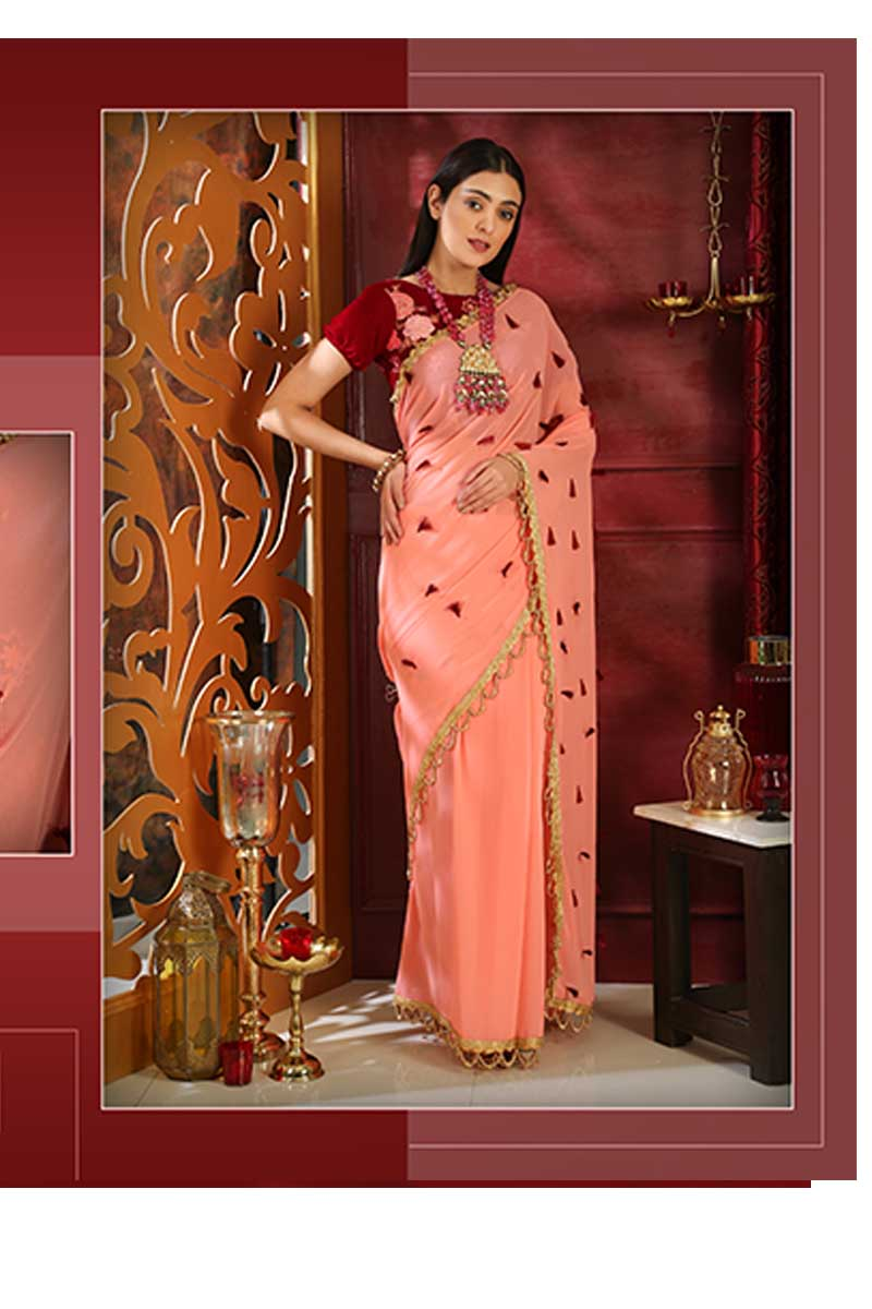 New Designer Party Wear Weaving Silk Saree In Pink & Maroon Colour