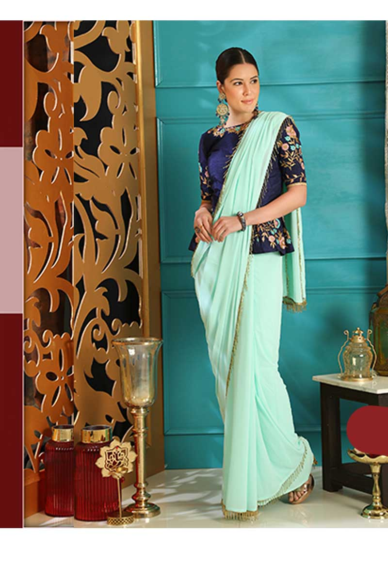 New Designer Party Wear Weaving Silk Saree In Turquoise Blue Colour