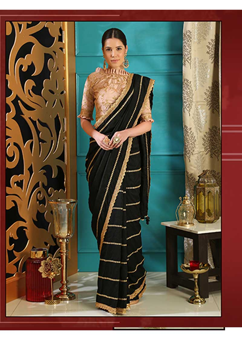 New Designer Party Wear Weaving Silk Saree In Black & Peach Colour