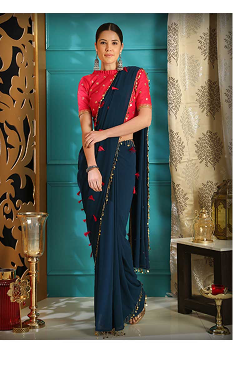 New Designer Party Wear Weaving Silk Saree In Teal Blue Colour