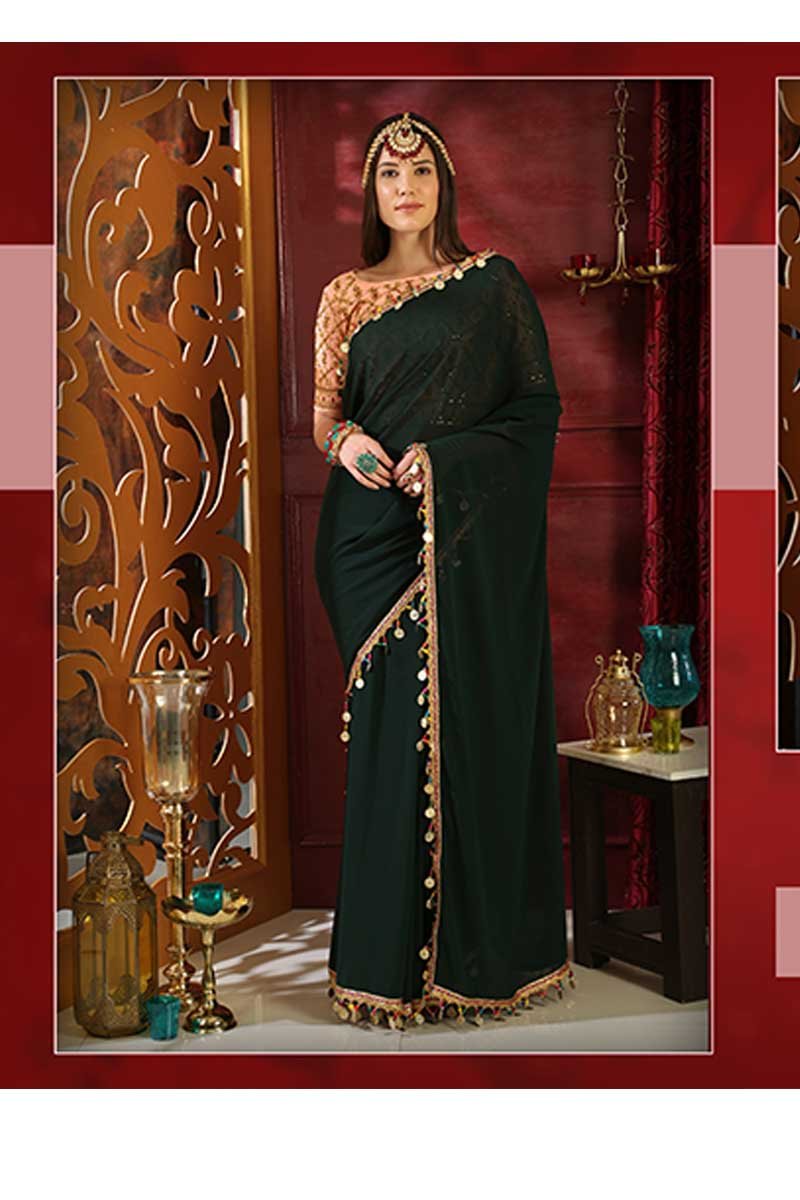 New Designer Party Wear Weaving Silk Saree In Dark Green & Peach Colour