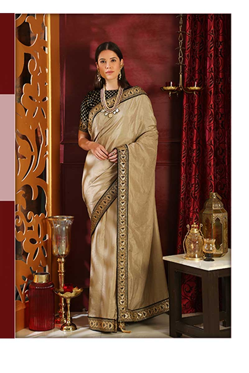 New Designer Party Wear Weaving Silk Saree In Beige & Black Colour