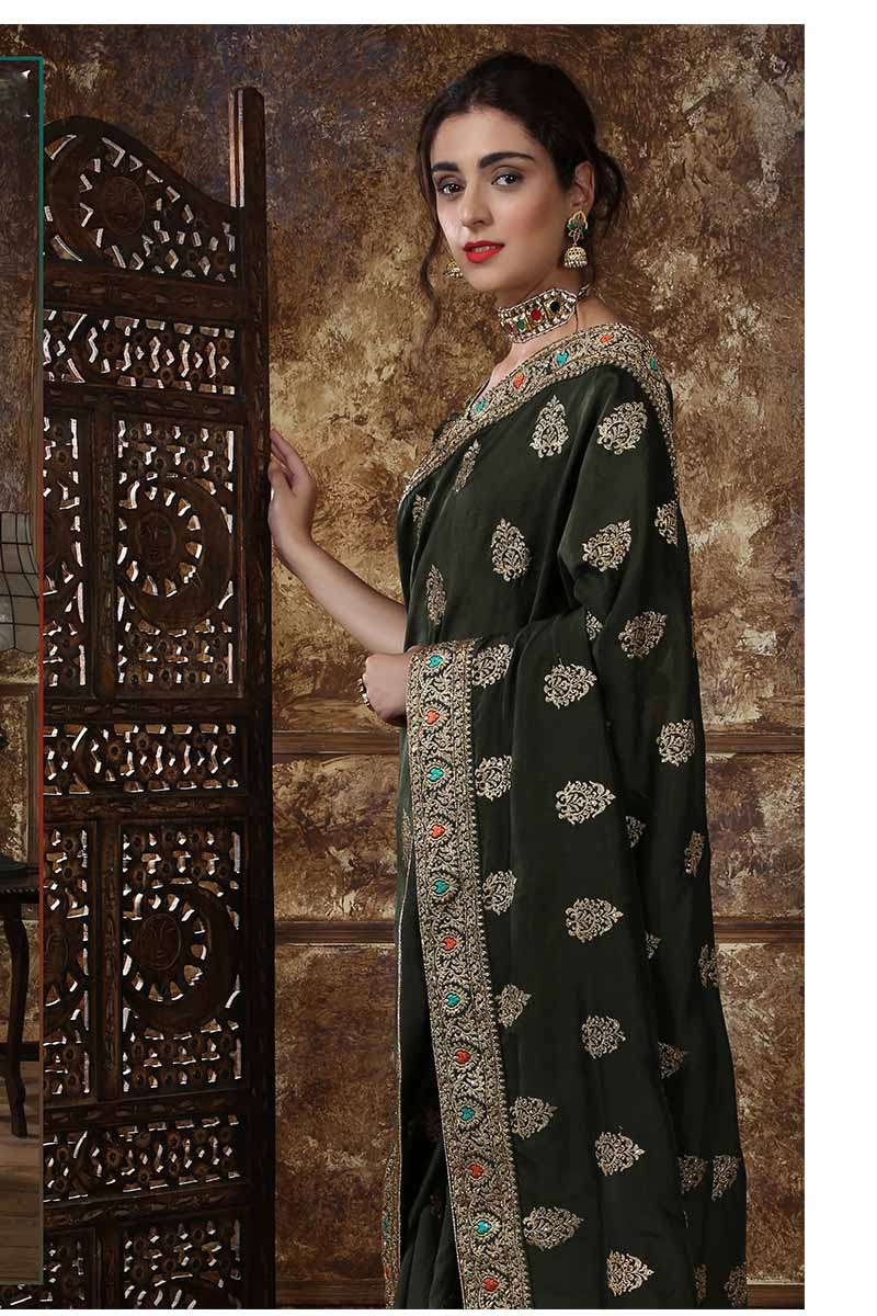 New Designer Party Wear Weaving Silk Saree In Olive Green Colour