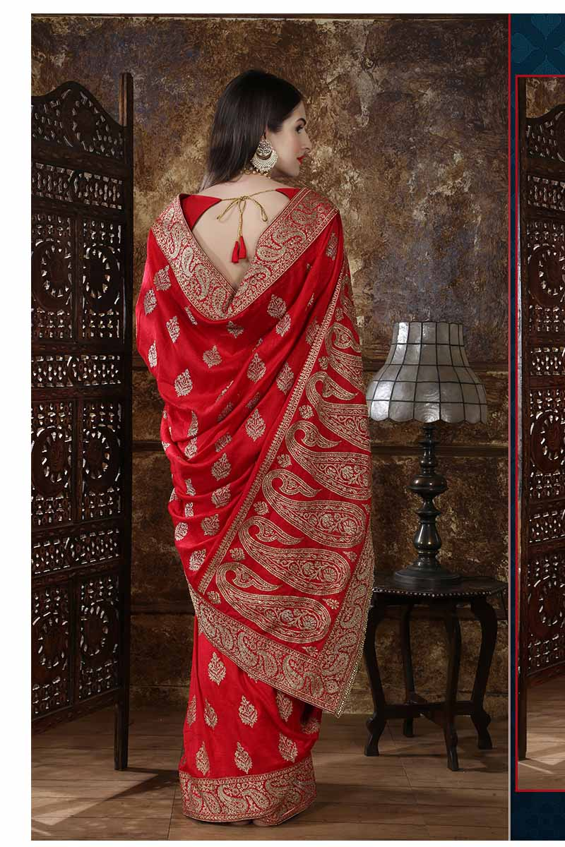 New Designer Party Wear Weaving Silk Saree In Red Colour