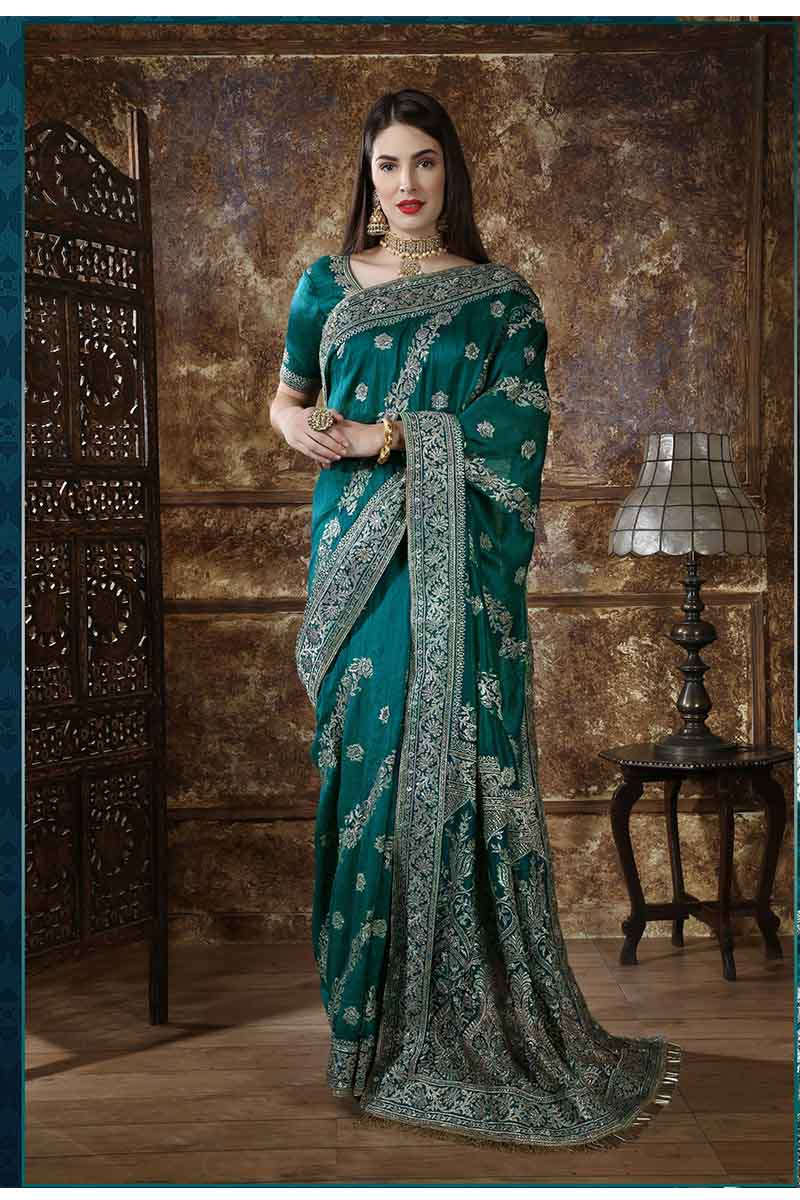 New Designer Party Wear Weaving Silk Saree In Teal Green Colour