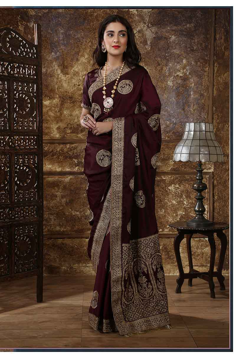 New Designer Party Wear Weaving Silk Saree In Maroon Colour