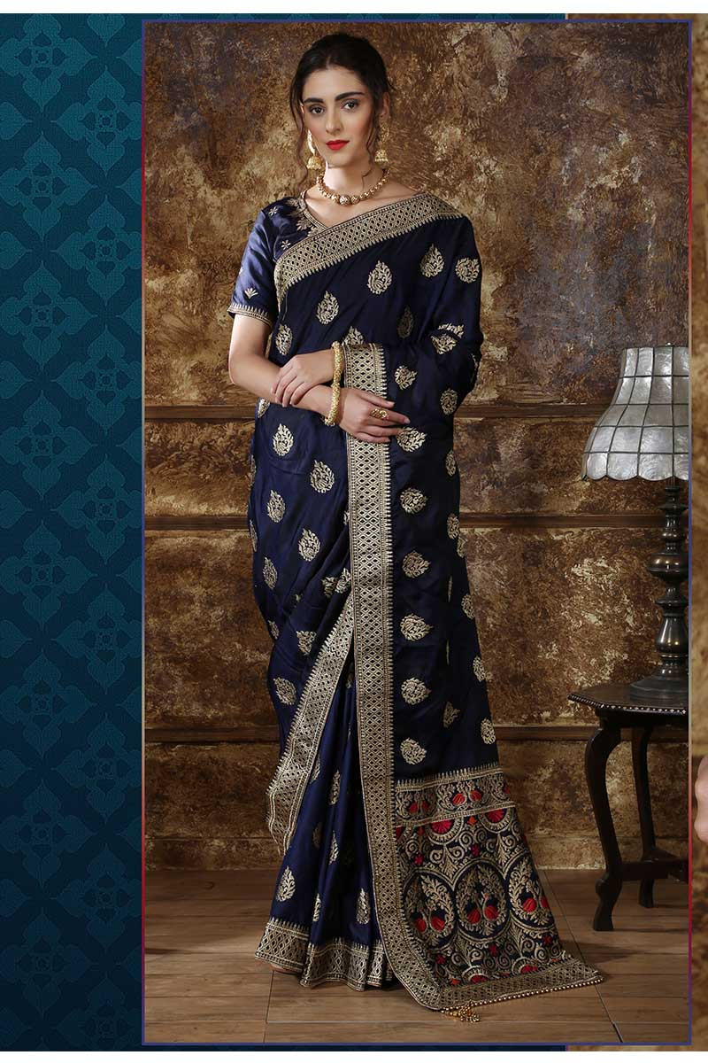 New Designer Party Wear Weaving Silk Saree In Navy Blue Colour