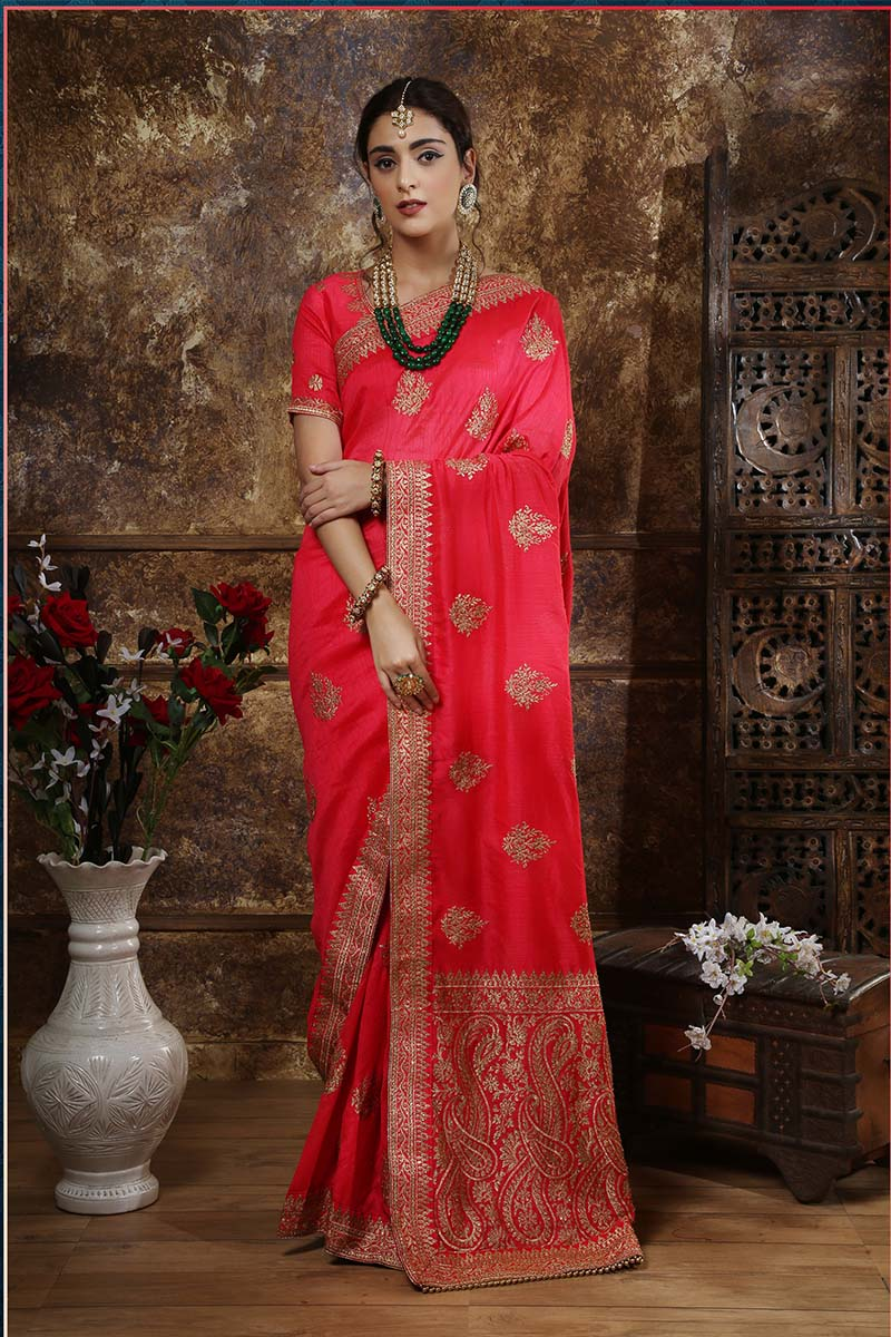 New Designer Party Wear Weaving Silk Saree In Dark Pink Colour