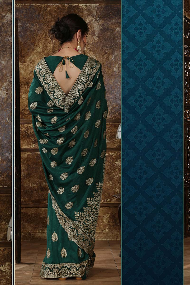 New Designer Party Wear Weaving Silk Saree In Dark Green Colour