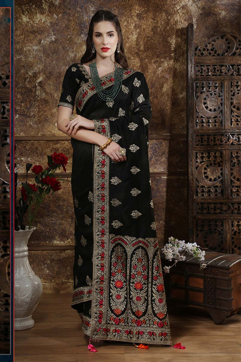 New Designer Party Wear Weaving Silk Saree In Black Colour