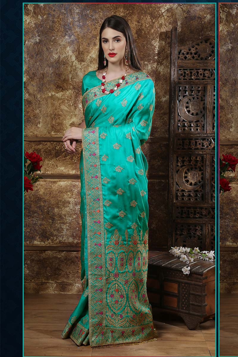 New Designer Party Wear Weaving Silk Saree In Teal Colour