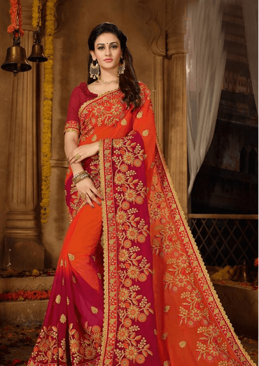 Exclusive Diwali Special Orange & Maroon Designer Georgette Saree