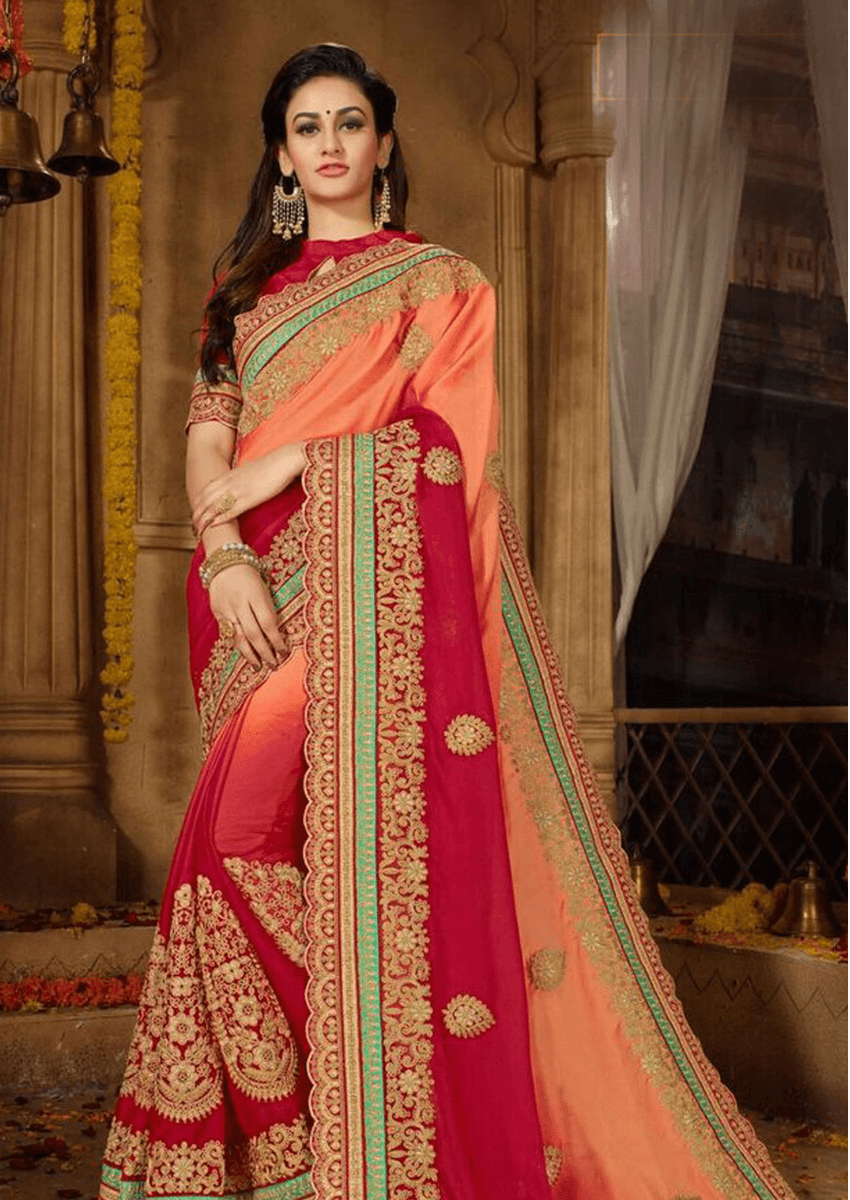Exclusive Diwali Special Multicolored Designer Moss Chiffon Saree