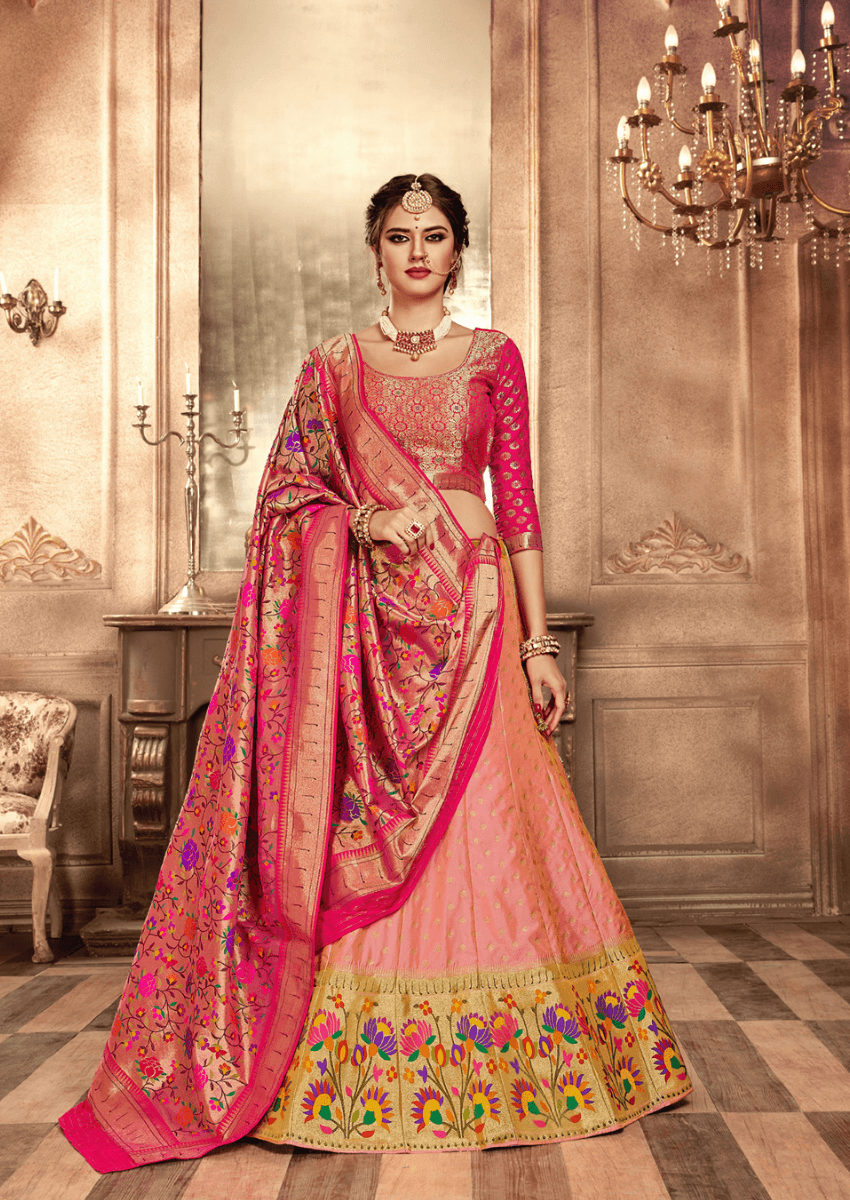 Peach & Pink Combo Heavy Embroidery Bollywood Style Lehenga Choli