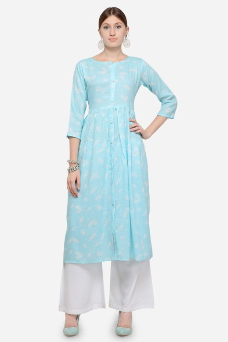 New trendy Designer Kurti with Embroidered Palazzo In Sky Blue Colour