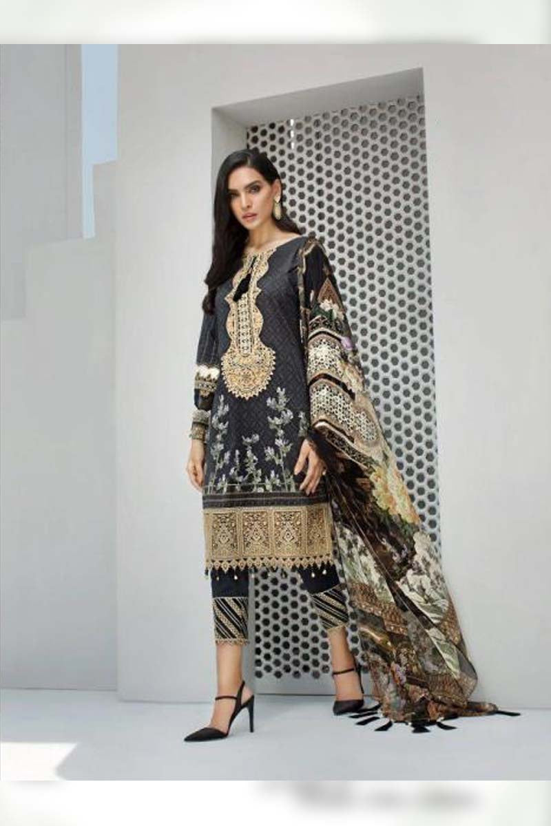 Printed Pure Jam Silk with Embroidery Work Pakistani Dress Material In Grey