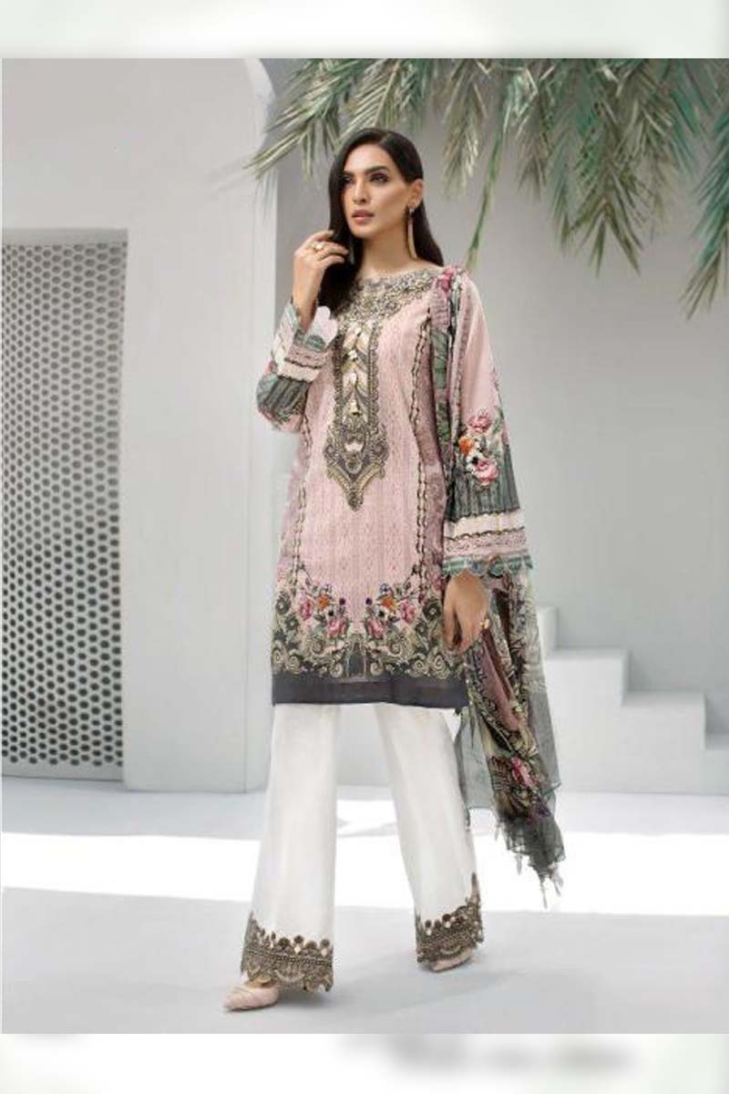 Printed Pure Jam Silk with Embroidery Work Pakistani Dress Material In Peach
