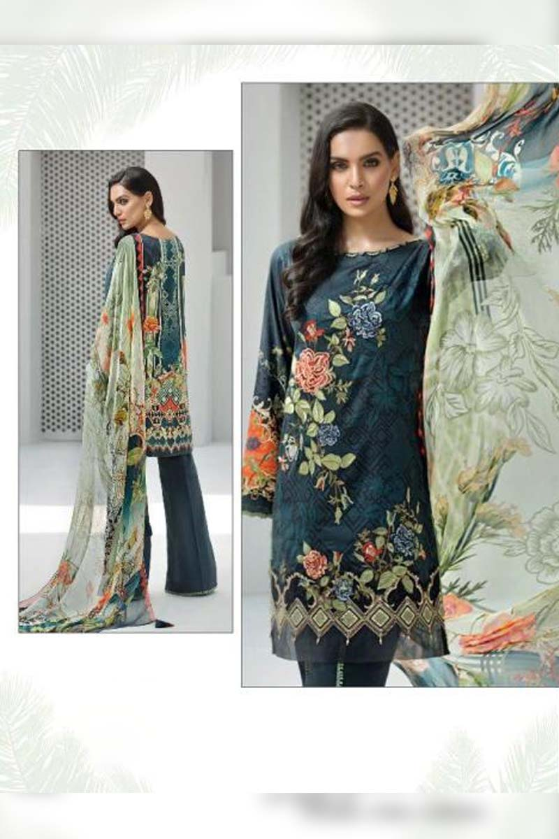 Printed Pure Jam Silk with Embroidery Work Pakistani Dress Material In Charcoal Grey.