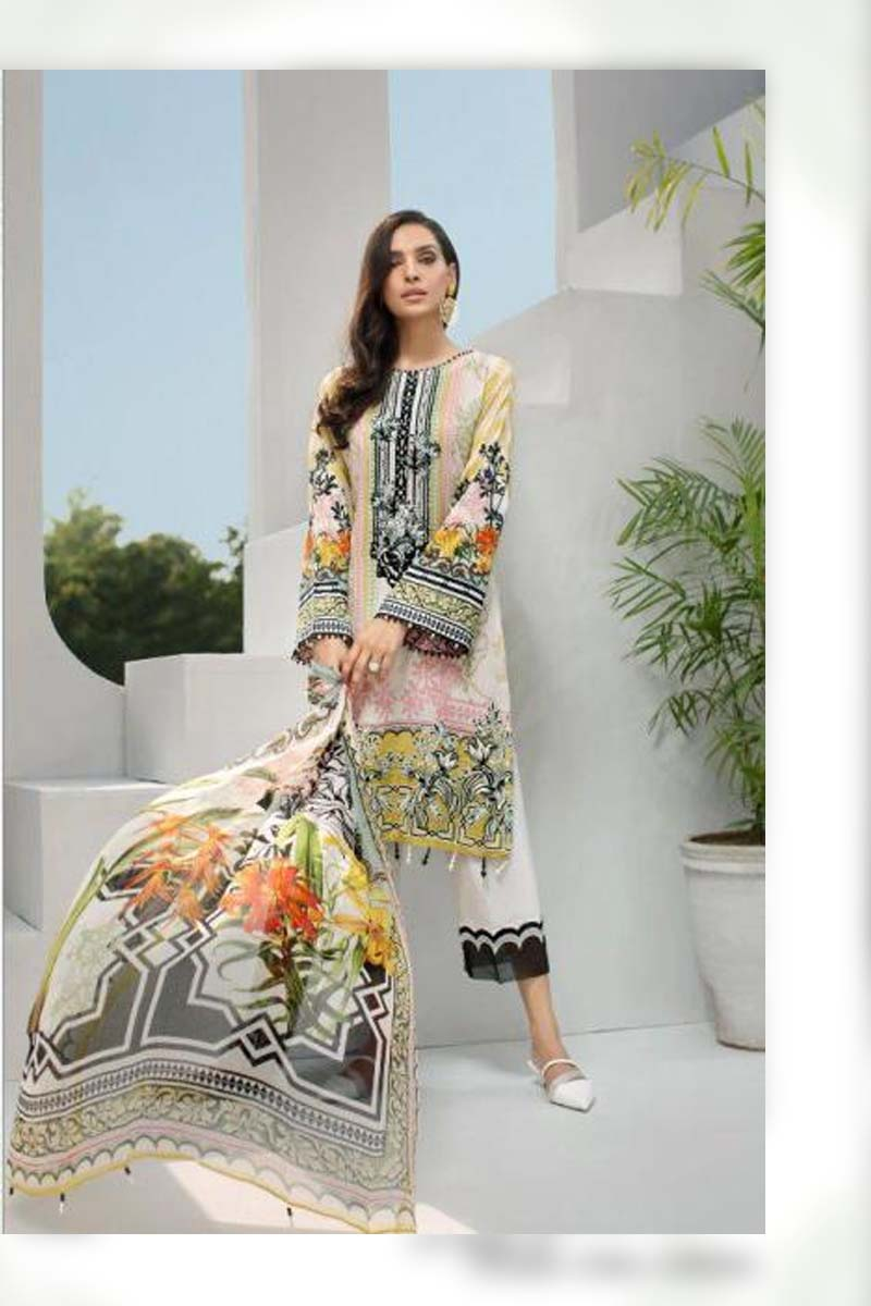 Printed Pure Jam Silk with Embroidery Work Pakistani Dress Material In Light Yellow.
