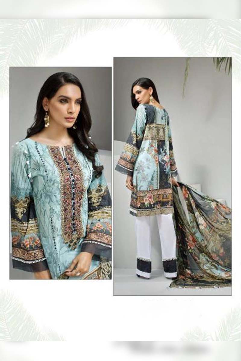 Printed Pure Jam Silk with Embroidery Work Pakistani Dress Material In Aqua Blue.