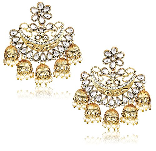 Gold Plated Pearl Fancy Party Wear Jhumka / Jhumki