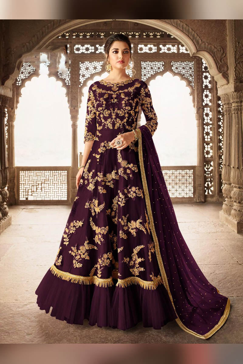Amazing Purple Color Heavy Embroidered Anarkali Suit