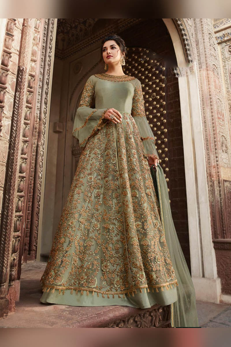Glamorous Pista Green Color Party Wear Anarkali Suit
