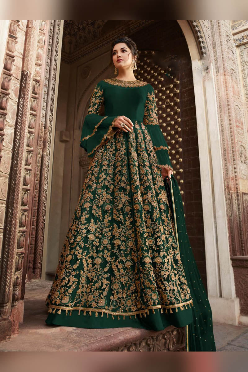 Glamorous Dark Green Color Party Wear Anarkali Suit