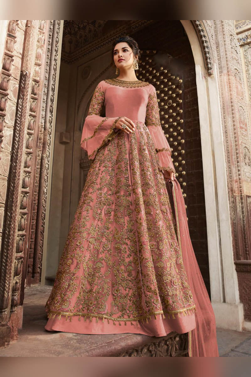 Glamorous Pink Color Party Wear Anarkali Suit